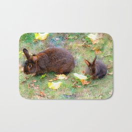 Bunny mom with baby Bath Mat