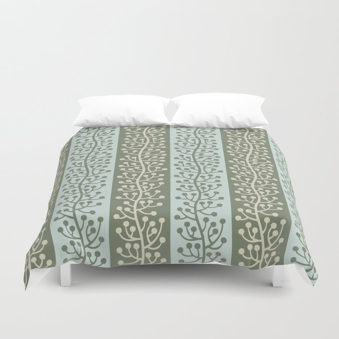 Mid Century Modern Berry Vine Sage and Mint Green Duvet Cover