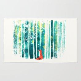 Fox in quiet forest Rug