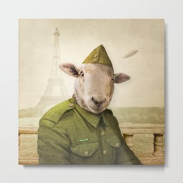 Private Leonard Lamb visits Paris Metal Print