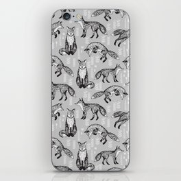 Fox pattern drawing foxes cute andrea lauren grey forest animals woodland nursery iPhone Skin