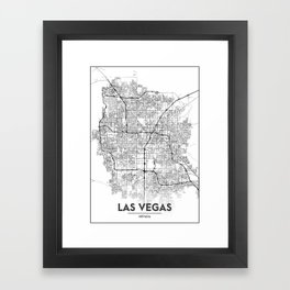 Minimal City Maps - Map Of Las Vegas, Nevada, United States Framed Art Print
