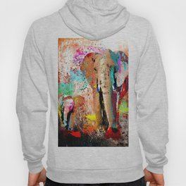 African Elephant Family Painting Hoody