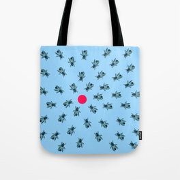 Bees fixated on a red dot. Tote Bag