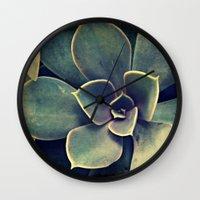 succulent Wall Clocks featuring Succulent by KunstFabrik_StaticMovement Manu Jobst