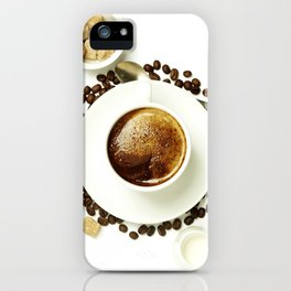 Top view of a cup of coffee, isolate on white iPhone Case