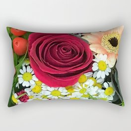 Darling Daisies and One BIG Scarlet Red Rose Rectangular Pillow