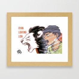 LIGHTING LION  Framed Art Print