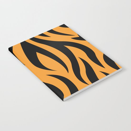 Tiger Stripes Pattern - Orange, Black Notebook
