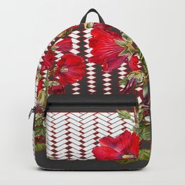 MODERN ART RED HOLLYHOCKS BOTANICAL Backpack