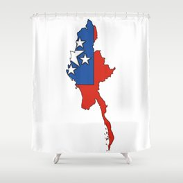 Myanmar Burma Map with Flag #1 Shower Curtain