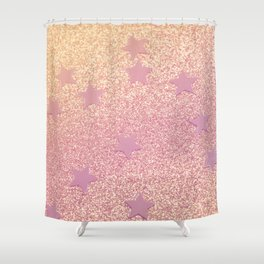 Rainbow Glitter and Stars Shower Curtain
