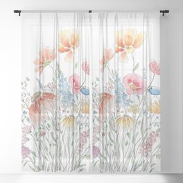 wild flower bouquet and blue bird- ink and watercolor 2 Sheer Curtain