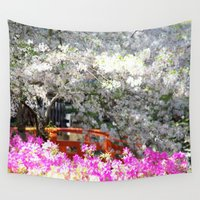 fairy tale Wall Tapestries featuring fairy tale garden by Bunny Noir