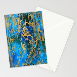 Blue and Gold Swirls Stationery Cards