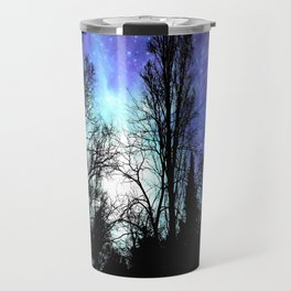 Black Trees Periwinkle Blue Lavender SPACE Travel Mug