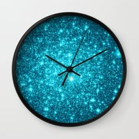 turquoise Wall Clocks featuring Turquoise Teal Sparkle Stars by Whimsy Romance & Fun