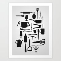 kitchen Art Prints featuring Kitchen by ValD