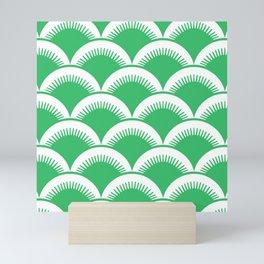 Japanese Fan Pattern Green Mini Art Print