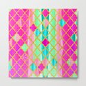 Moroccan Tile Pattern In Neon Pink And Green by ekaterinac