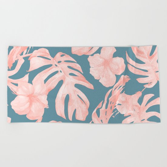 Tropical Palm Leaves and Hibiscus Pink Teal Blue Beach Towel