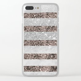 White Marble Rose Gold Glitter Stripe Glam #2 #minimal #decor #art #society6 Clear iPhone Case