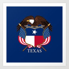 Texas flag and eagle crest - original design by BruceStanfieldArtist Art Print