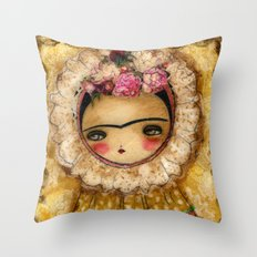 Frida In A Brown And Green Tehuana Mexican Traditional Dress Throw Pillow