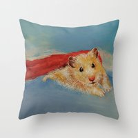 superheros Throw Pillows featuring Hamster Superhero by Michael Creese