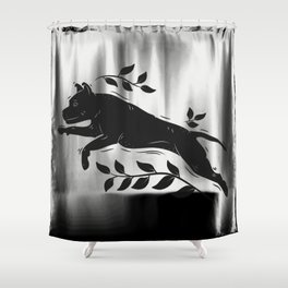 Jumping Dog With Leaves –black palette Shower Curtain