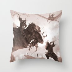 T. rex vs Samurai Throw Pillow