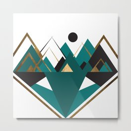 Art Deco Mountain Teepees In Turquoise Metal Print