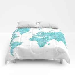 Highly detailed watercolor world map in aquamarine Comforters