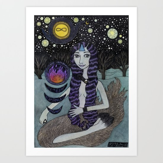 Girl Building a Fire Art Print