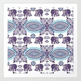 Boho Elephant Pattern Art Print