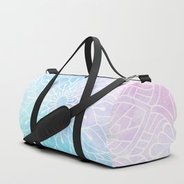 Watercolor White Mandala Illustration Pattern Duffle Bag