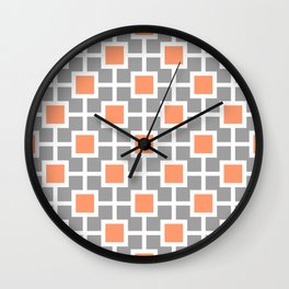 Classic Hollywood Regency Pattern 221 Gray and Orange Wall Clock