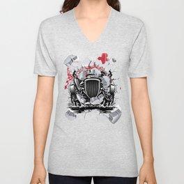 Funny Drag Racing Gift | Race Drivers & Bracket Racing Fans for Petrolheads who love Hot Rods and Unisex V-Neck