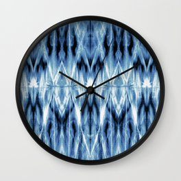 Blue Satin Shibori Argyle Wall Clock