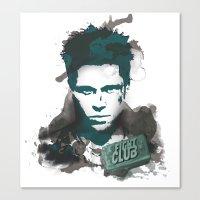 tyler durden Canvas Prints featuring Tyler Durden by thiagoilustrador