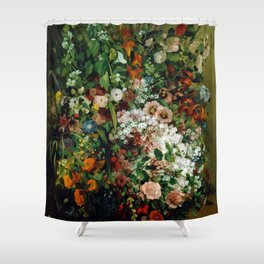 Bouquet of Flowers in a Vase by Gustave Courbet (1862) Shower Curtain