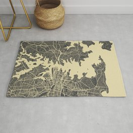 Sydney map yellow Rug