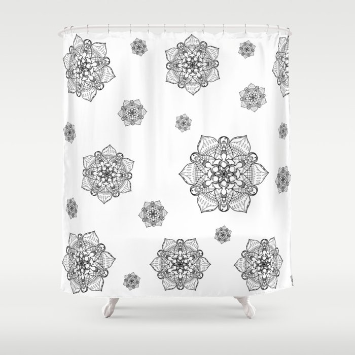 Symmetrical Sea, Lineart Only Shower Curtain