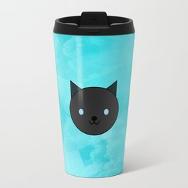 Dragonfly - Kawaii Black Cat Blue Eyes Travel Mug