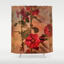 Mid-Summer Hollyhocks Shower Curtain