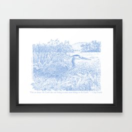 Chief Seattle quote under Great Blue Heron Drawing by Lilith Jones Framed Art Print