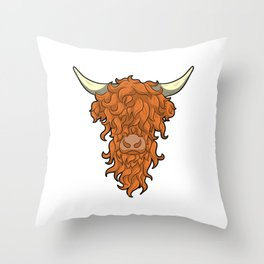 Proud Ginger Highland Cow Cattle Red Head Throw Pillow