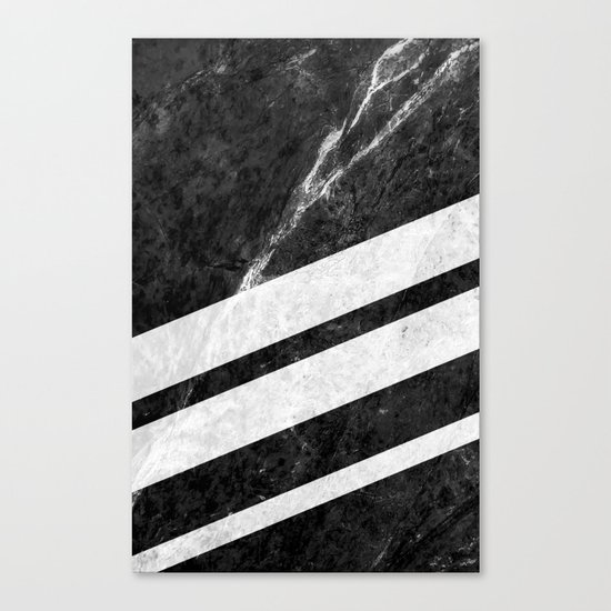 Black Striped Marble Canvas Print