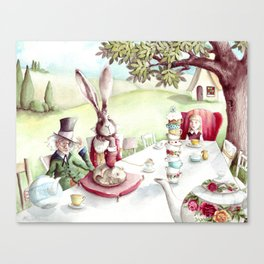 The Mad Tea Party - Alice in Wonderland - By Lewis Carroll Canvas Print