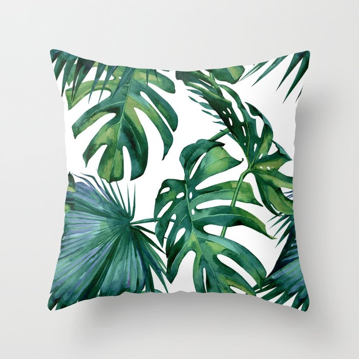 Classic Palm Leaves Tropical Jungle Green Throw Pillow